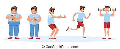 concept., избыточный вес, жир, тонкий, баннер, человек