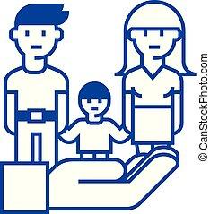 concept., линия, вектор, символ, квартира, значок, знак, жизнь, семья, защита, контур, страхование, illustration.