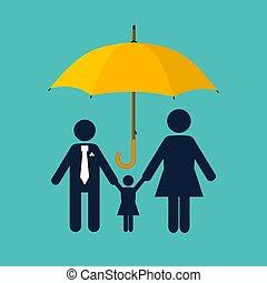 concept., семья, protection., страхование