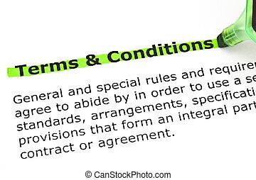 conditions, выделенный, terms, зеленый