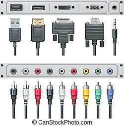 connectors, вектор, видео, аудио