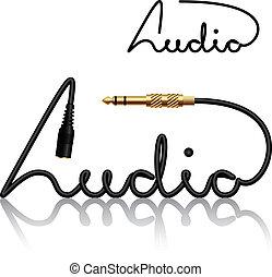 connectors, вектор, разъем, каллиграфия, аудио