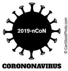 coronavirus, бактерии, силуэт, design., черный, патогенный, (2019-ncov)