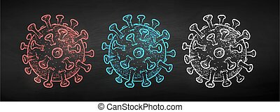 coronavirus, вектор, мел, вничью, задавать
