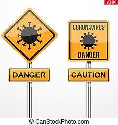 coronavirus, предупреждение, знаки, квадрат