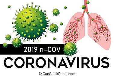 coronavirus, illustration., вектор, пневмония, 2019, lungs, n, cov, китай