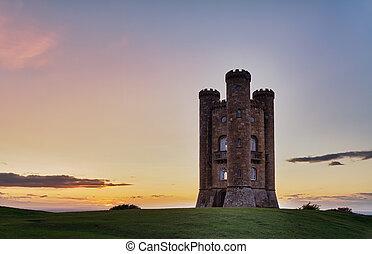 cotswolds, небо, красочный, закат солнца, uk, бродвей, башня