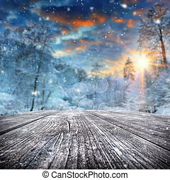 covered, лес, зима, пейзаж, снег