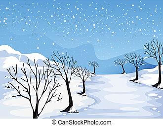 covered, место, снег