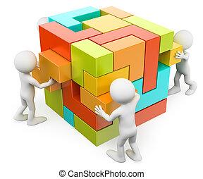 creating, здание, people., концепция, 3d, белый