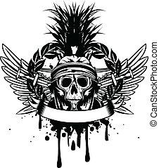 crossed, шлем, меч, череп