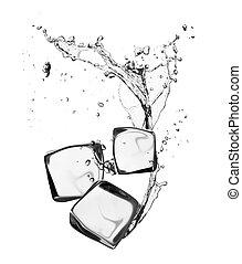 cubes, isolated, лед, воды, всплеск, задний план, белый