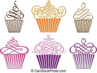 cupcakes, вектор, задавать