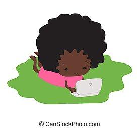 dark-skinned, laptop., набрав, девушка, трава, лежащий
