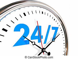days, чисел, hours, неделю, часы, 7, 24, иллюстрация, 3d