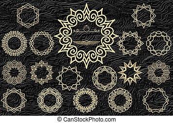 deco, изобразительное искусство, золото, icons, кожа, марочный, background., задавать, дизайн, textured, логотип, значок, template.