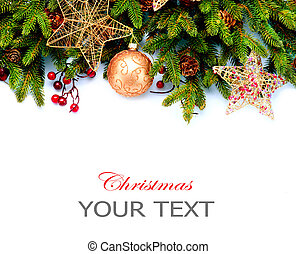 decoration., isolated, background., дизайн, украшения, белый, день отдыха, граница, рождество