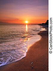 deserted, пляж, закат солнца