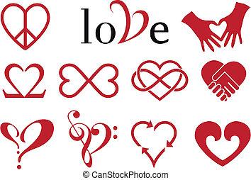 designs, сердце, абстрактные, вектор, задавать