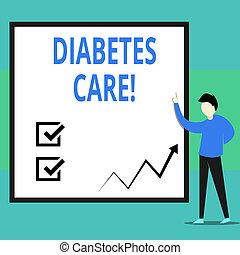 diabetes., практикующий врач, бизнес, фото, показ, письмо, здоровье, рассматривать, диабет, текст, концептуальный, care., рука, журнал, забота