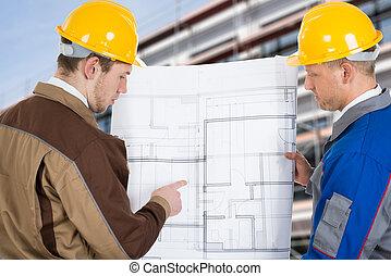 discussing, два, architects, план