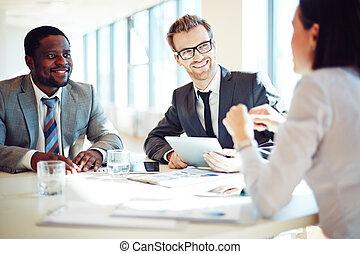 discussing, ideas