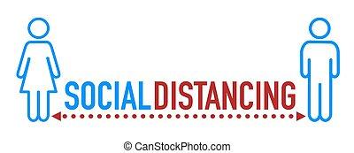 distancing, значок, социальное, слово