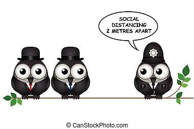 distancing, комичный, социальное