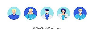 doctors., avatars, portraits, professionals, networks., социальное, consultations, медицинская