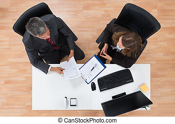 documents, discussing, два, businesspeople