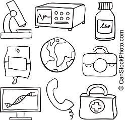 doodles, медицинская, задавать, здоровье, элемент