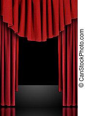 draped, curtains, красный, theatre, сцена