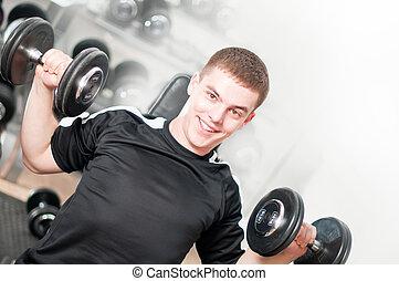 dumbbells, молодой, lifting, человек