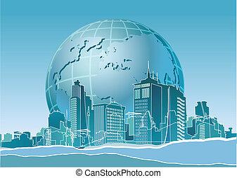 eco, баннер, земля, современное, конец, город