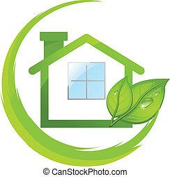 eco, дом, зеленый, leafs, логотип