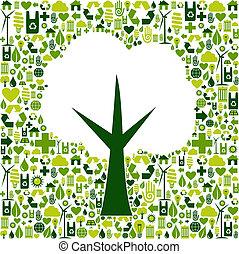 eco, зеленый, символ, дерево, icons
