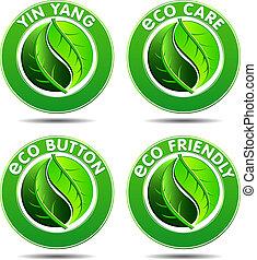 eco, зеленый, 2, задавать, icons