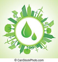 eco, cityscape, drops, воды, вокруг