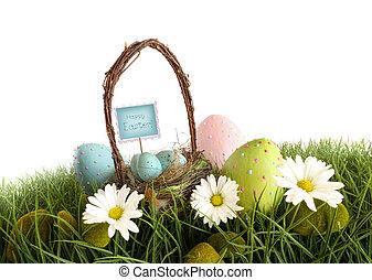 eggs, пасха, корзина, трава