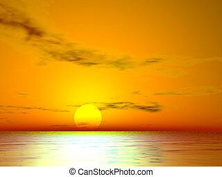 el, закат солнца, золотой