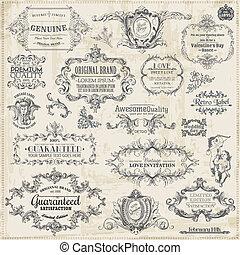 elements, украшение, рамка, коллекция, каллиграфический, вектор, дизайн, марочный, страница, set: