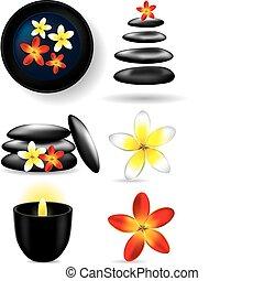 elements, цветок, -, ston, свеча, спа