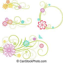 elements., цветочный, дизайн