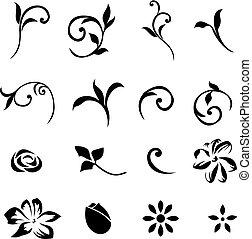 elements, 01, цветочный, задавать, дизайн