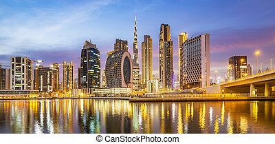 emirates, дубай, ночь, панорама, единый, город, арабский