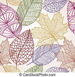 eps10, марочный, leaves, бесшовный, осень, background., шаблон, file.