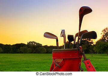 equipment., clubs, гольф, закат солнца, профессиональный