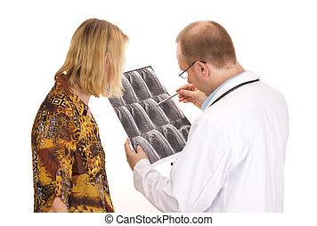 examining, медицинская, пациент, врач