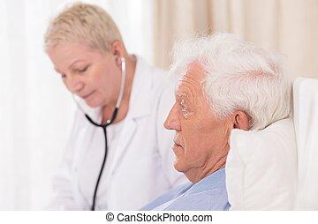 examining, стетоскоп, врач, пациент