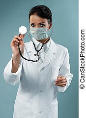 examining, стетоскоп, симпатичная, врач